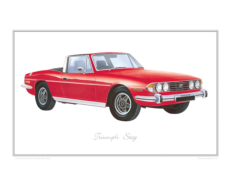 Triumph Stag (signal red) Car print