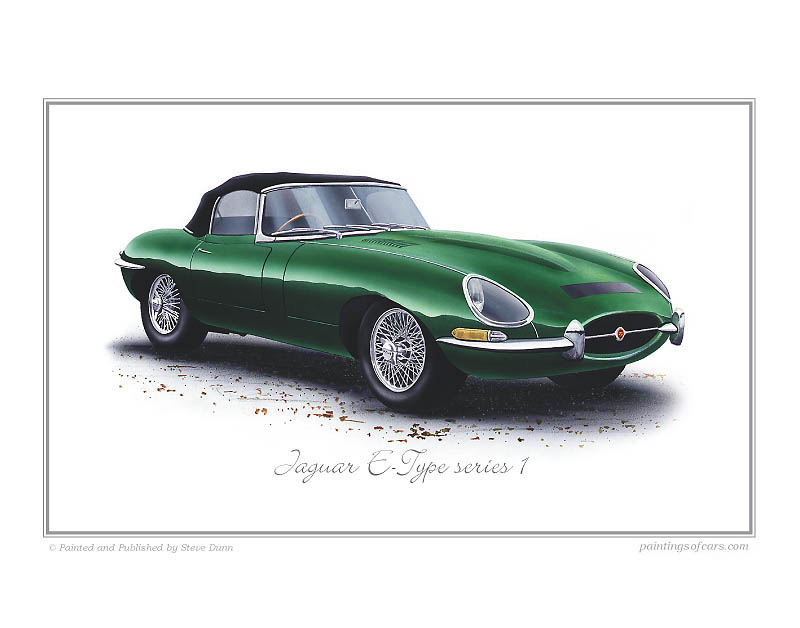 Jaguar E Type >> Jaguar E-Type Series1 Car Art Print