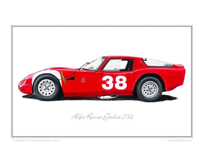 Alfa Romeo Giulia TZ2 Car Art Print