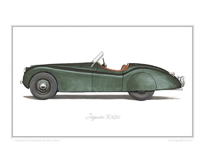 jaguar xk120 green car art print